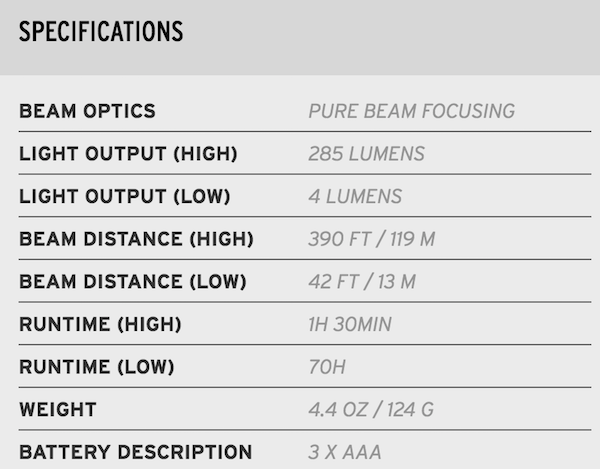 Coast HL7 headlamp specifications chart.