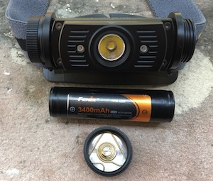 Fenix FX-HL60R headlamp with replaceable rechargeable 18650 batteries.