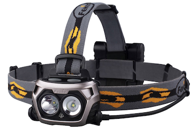 Fenix HP25 headlamp with strong center spot beam.
