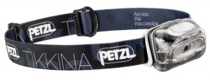 Petzl Tikkina headlamp with 80 lumens of maximum light output.