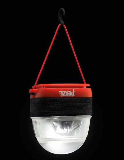 Petzl camping lantern to hang from your tent or put it on your floor to light up your tent while camping.