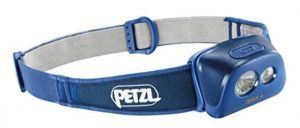 Petzl Tikka plus 110 lumens max light output.