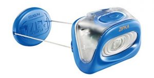 Petzl Zipka headlamp with 80 lumens max light output.