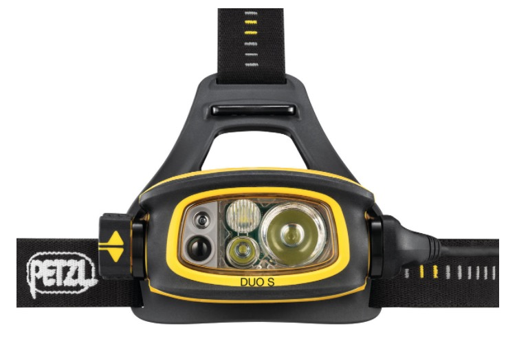 Close-up of Petzl DUO S headlamp unit showing new beam configuration, colors, and Face2Face technology sensors.